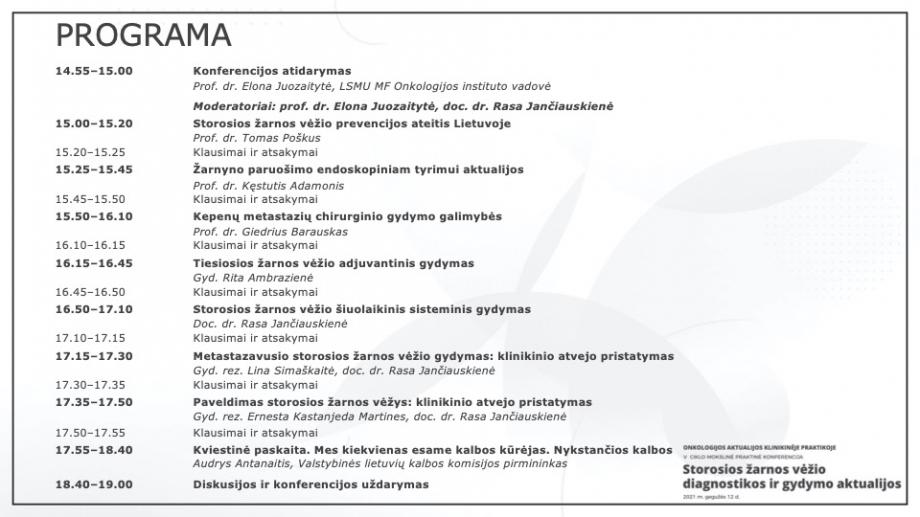 """Onkologijos aktualijos klinikinėje praktikoje   V KONFERENCIJA """"Storosios žarnosvėžio diagnostikos ir gydymo aktualijos"""""""